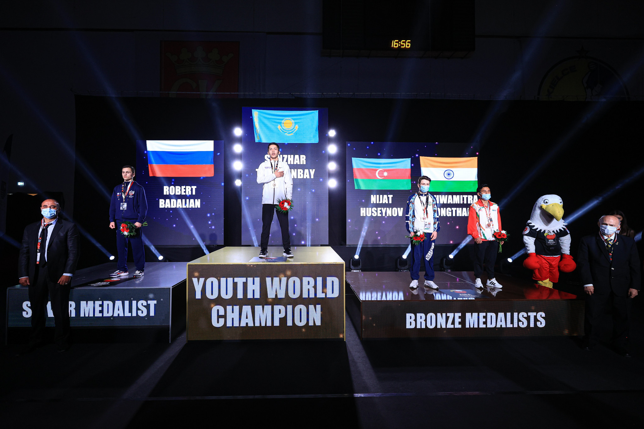 The podium for the day's first final in the light flyweight category ©AIBA