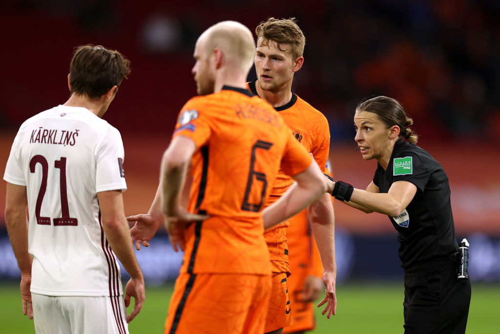 France's Stéphanie Frappart became the first woman to officiate at a men's World Cup qualifier as she took charge of the Netherlands' 2-0 win over Latvia last month ©Getty Images