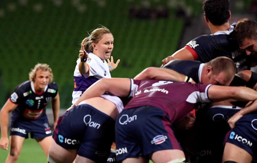 Amy Perrett, who became the first woman to referee a Super Rugby match in 2020, pictured earlier this month officiating a Rebels-Reds game ©Getty Images