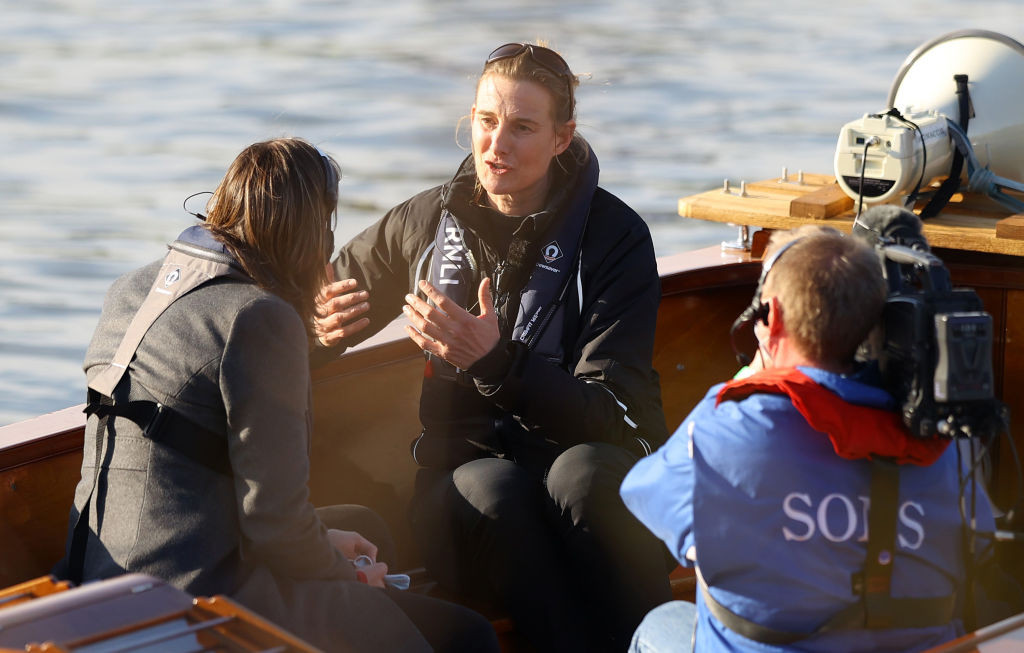 Sarah Winckless is interviewed for the BBC by her former team mate Katherine Grainger after becoming the first woman to umpire the men's Boat Race earlier this month ©Getty Images