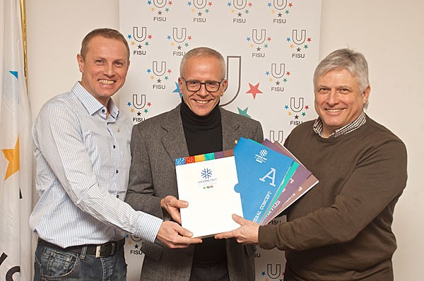 A delegation from Lucerne 2021 have delivered their bid for the Winter Universiade to FISU ©FISu