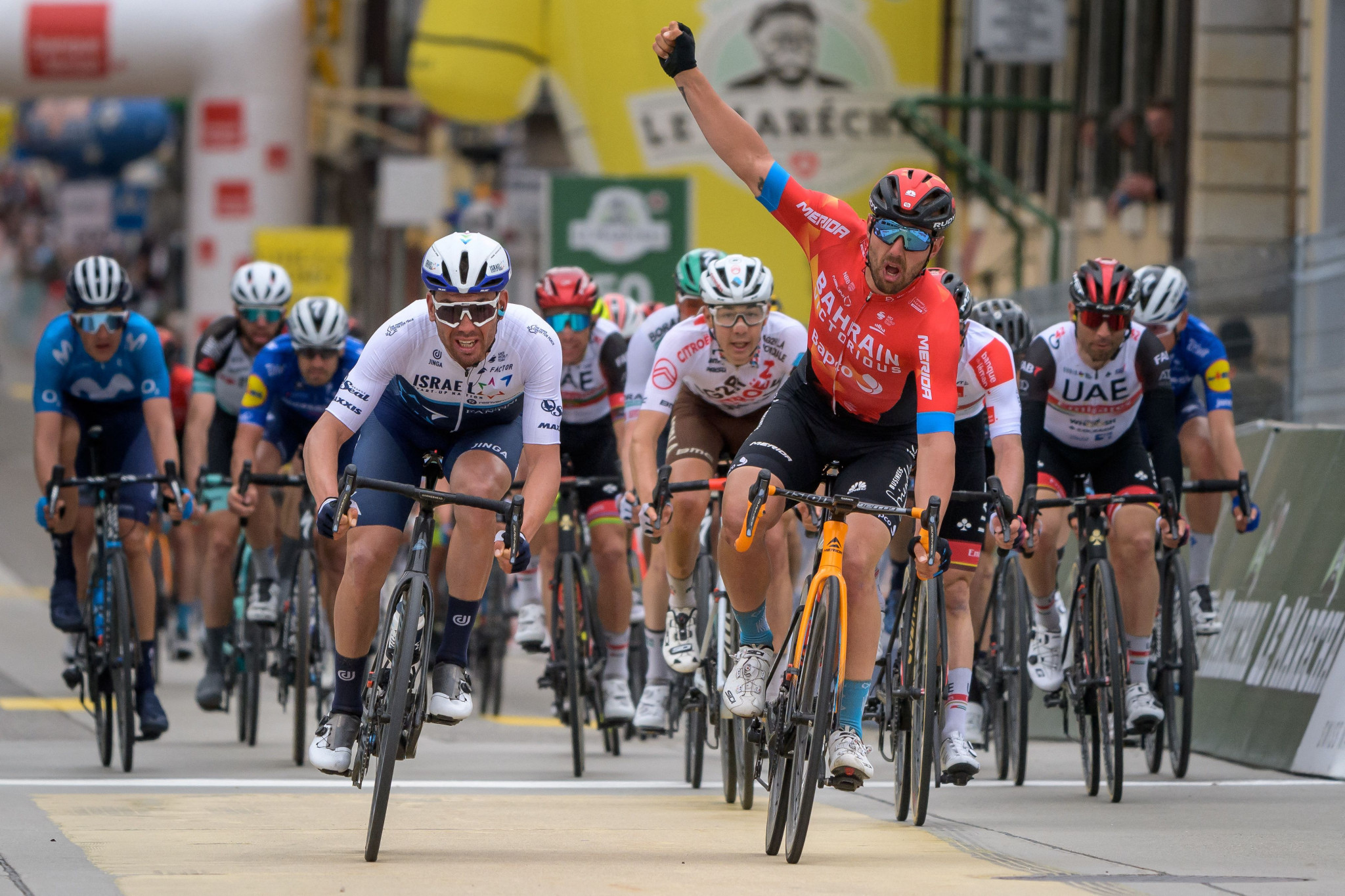 Colbrelli wins stage two of Tour de Romandie in reduced sprint finish