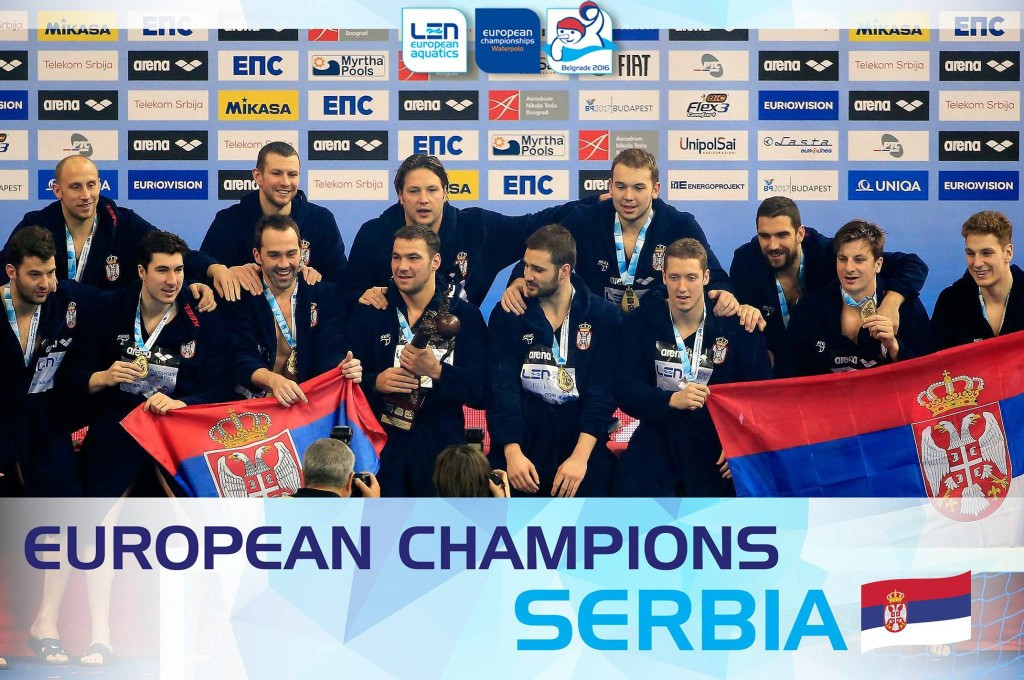 Hosts Serbia win men's European Water Polo Championships in front of record crowd