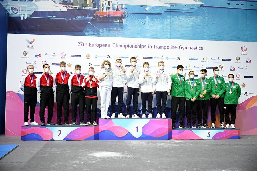 Russia claim three team golds on day two of European Gymnastics Trampoline Championships