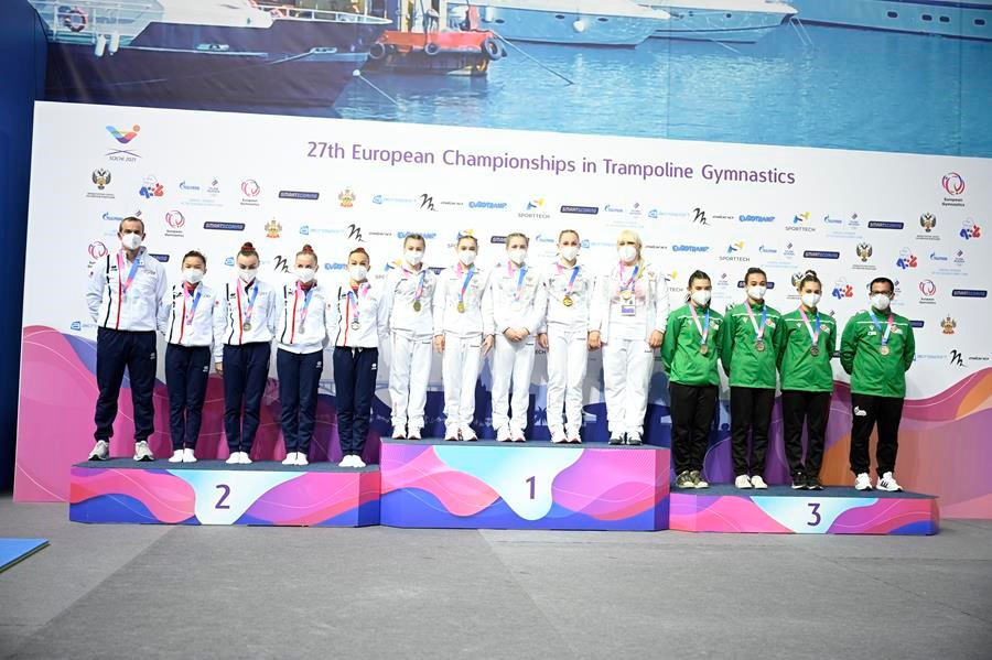 Russia claim clean sweep of junior team titles on penultimate day of European Gymnastics Trampoline Championships