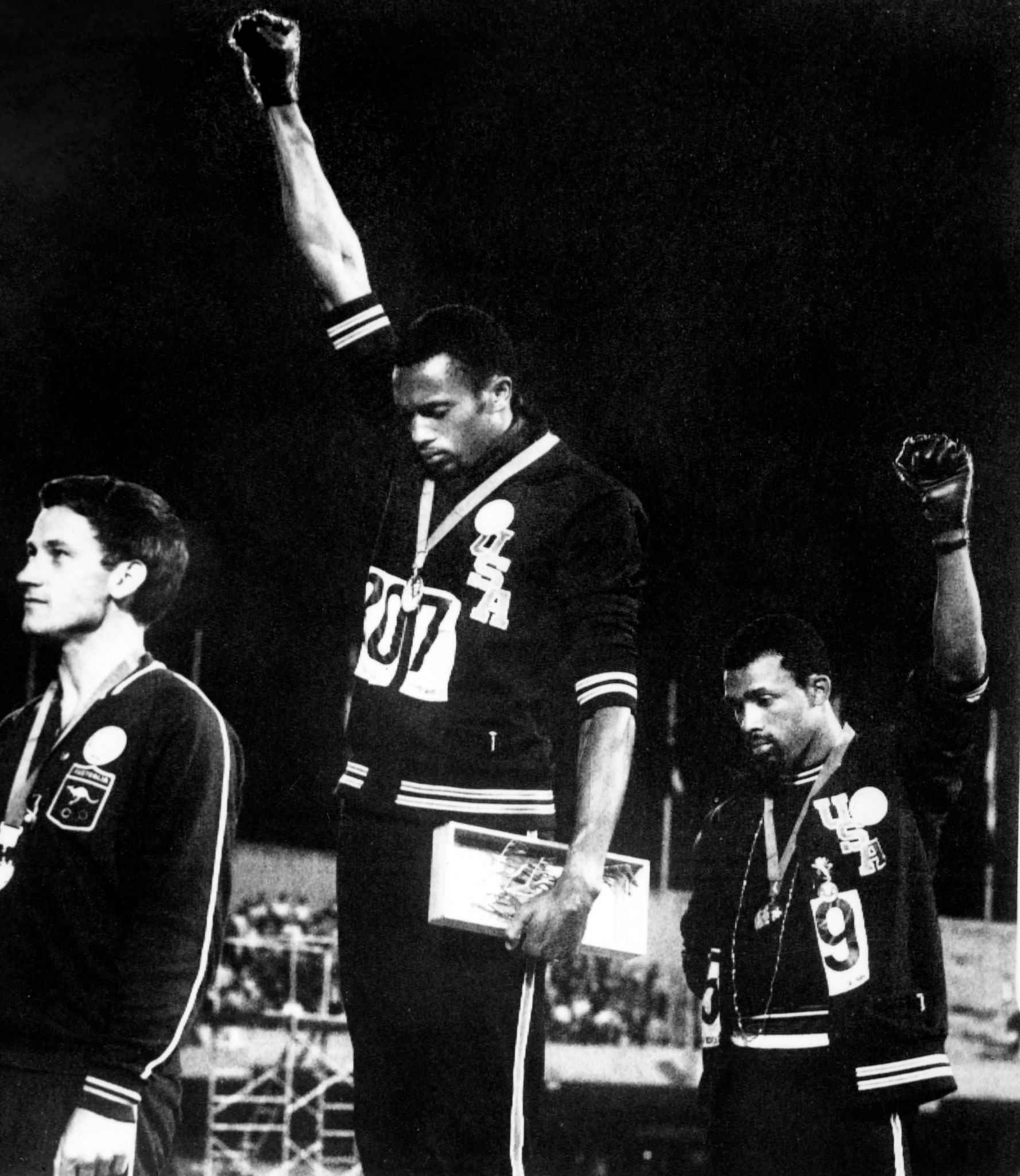 Tommie Smith, John Carlos, Peter Norman were punished at the time but their protest is now celebrated by sport's governing bodies ©Getty Images