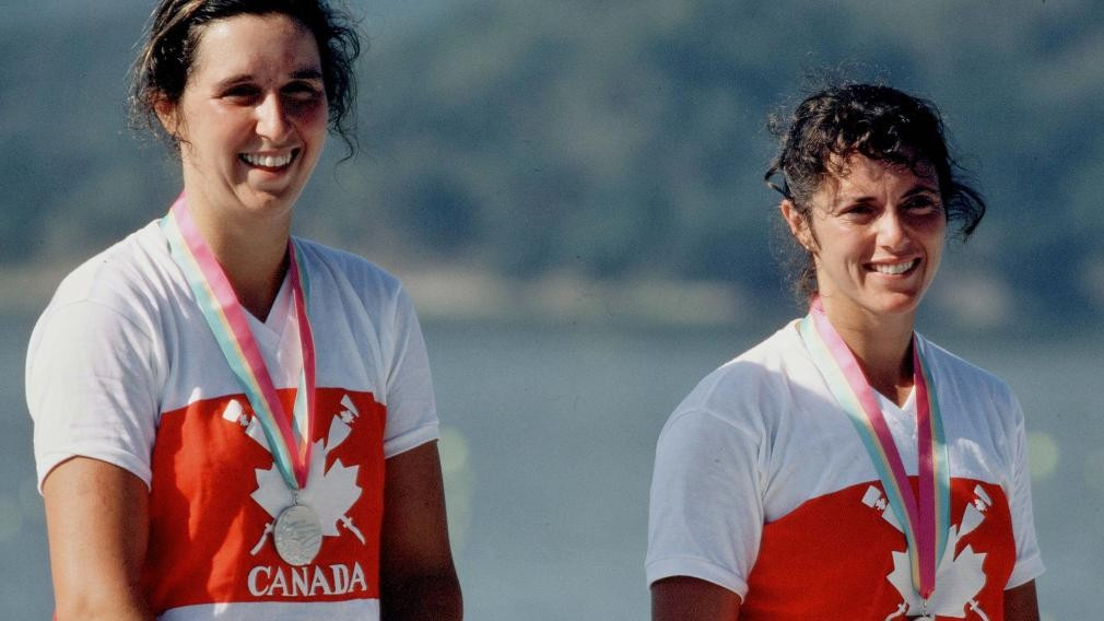 Tricia Smith, left, who won rowing silver in the women's pair with Betty Craig at the Los Angeles1984 Olympics, has been elected for a third term of office as President of the Canadian Olympic Committee ©Getty Images
