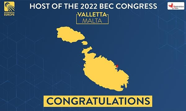 Badminton Europe hoping to stage 2022 Congress in Malta after cancellations