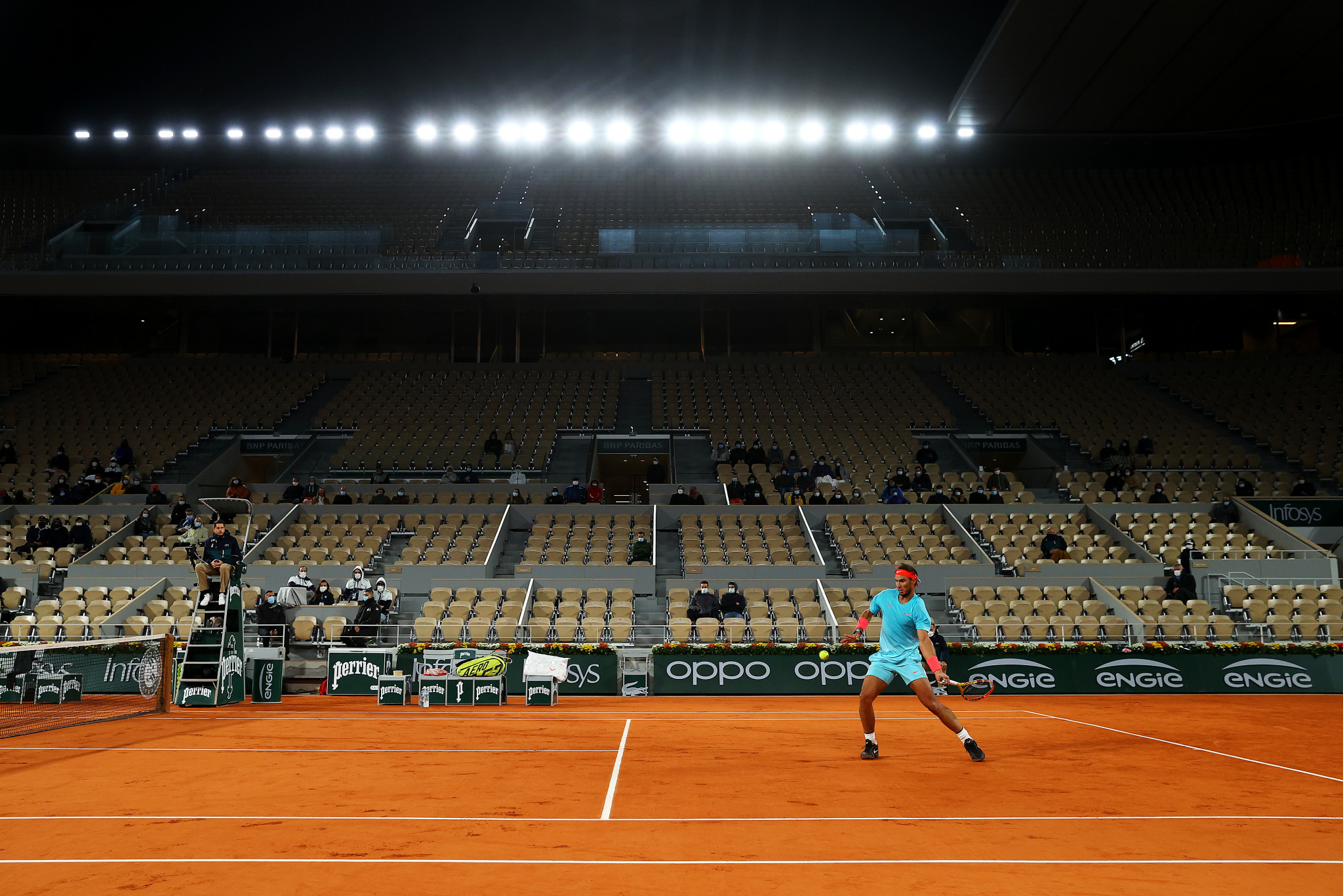 A sparse crowd watches the action on Philippe Chatrier at last year's French Open ©Getty Images