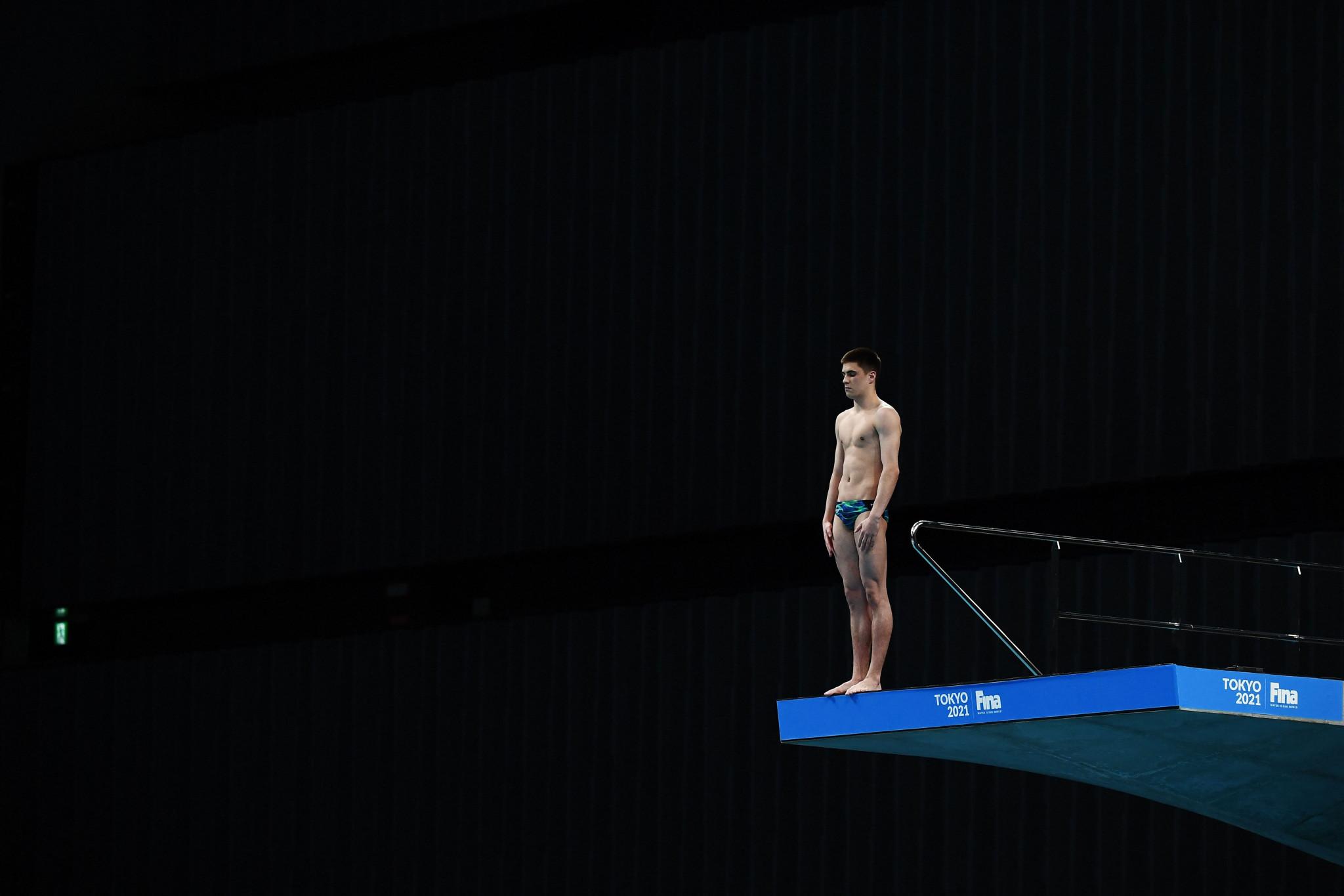 Ruslan Ternovoi led the men's 10m platform semi-final ©Getty Images