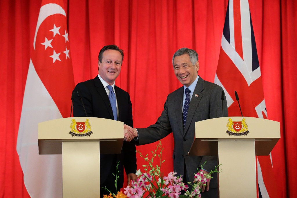 British Prime Minister David Cameron held talks with his Singapore counterpart Lee Hsien Loong shortly before the IAAF election, where Sebastian Coe beat Sergey Bubka ©Getty Images
