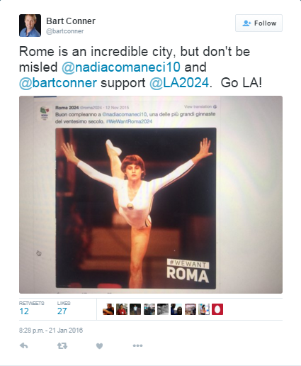 Rome 2024's #WeWantRoma2024 Twitter campaign has been accused of being misleading by Bart Conner