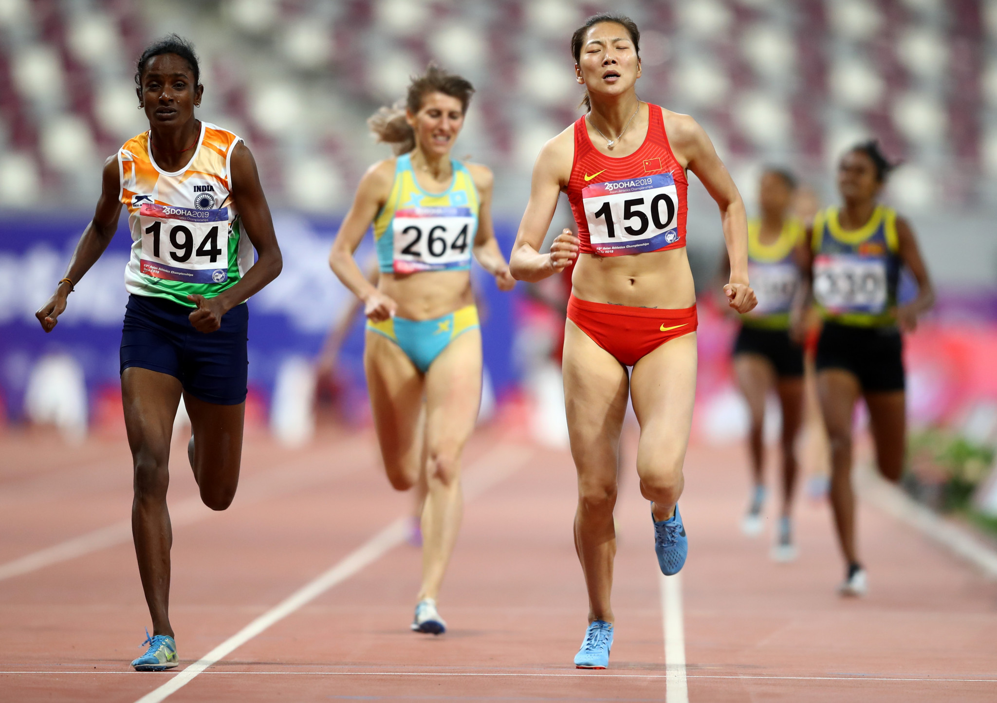 Gomathi Marimuthu, left, was stripped of the Asian 800m title after failing anti-doping tests ©Getty Images