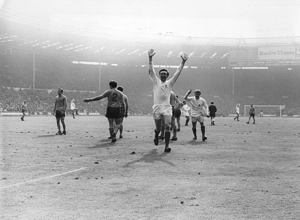 Jeff Astle, pictured after scoring the only goal for West Bromwich Albion in their 1968 FA Cup final against Everton, died as a result of repeated trauma due to heading footballs, according to a coroner ©Getty Images