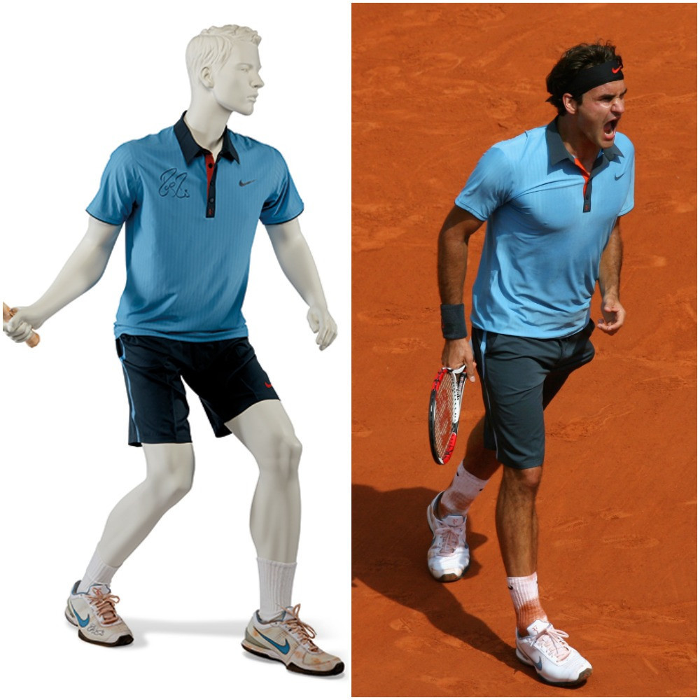 The outfit and trainers worn by Roger Federer, along with his racket, when he completed his career Grand Slam with victory at the 2009 French Open in Paris is expected to fetch up to £70,000 at the Christie's auction ©Christie's and Getty Images