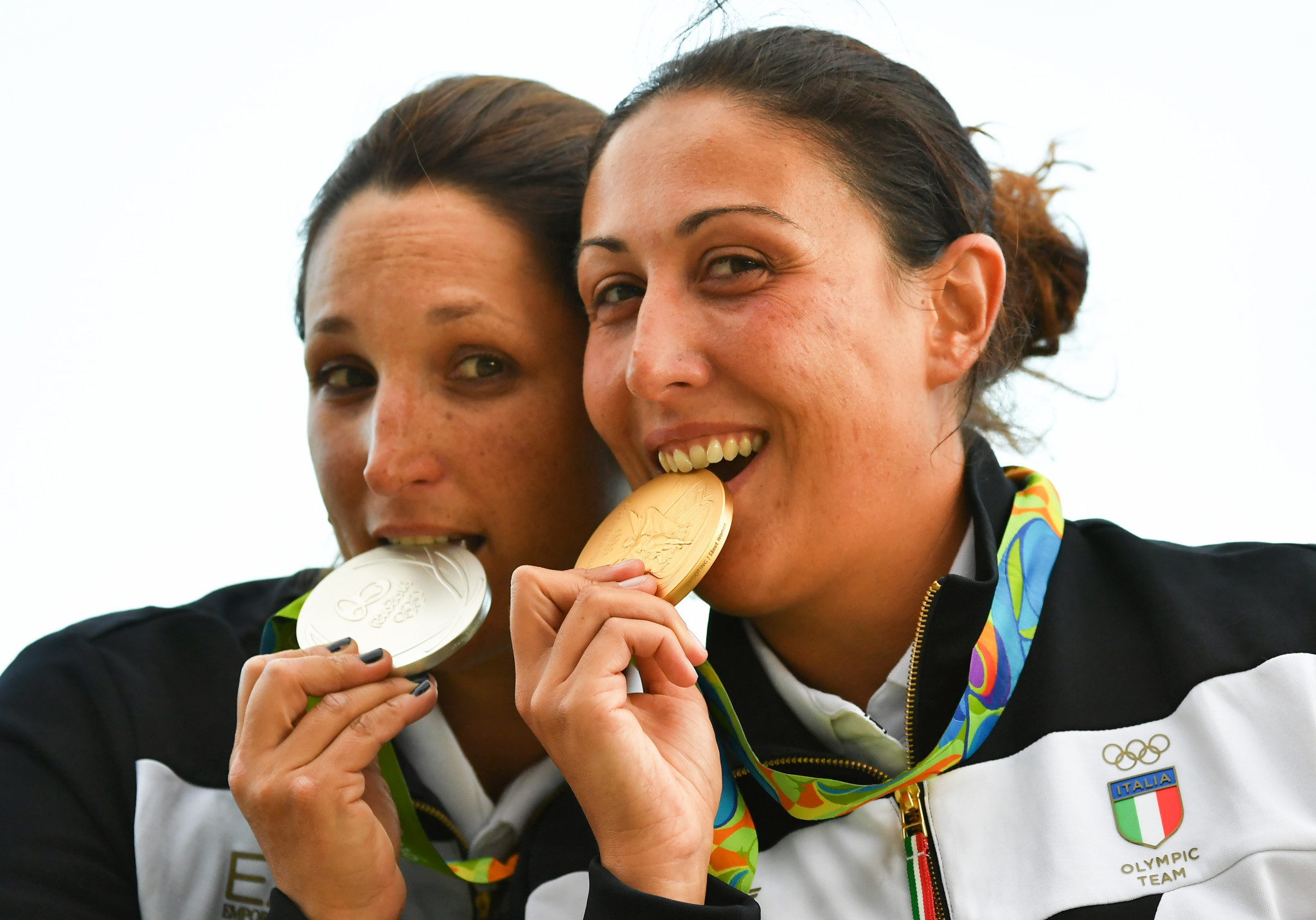 Olympic champion Diana Bacosi, right, and Chiara Cainero helped Italy women taste team skeet success ©Getty Images