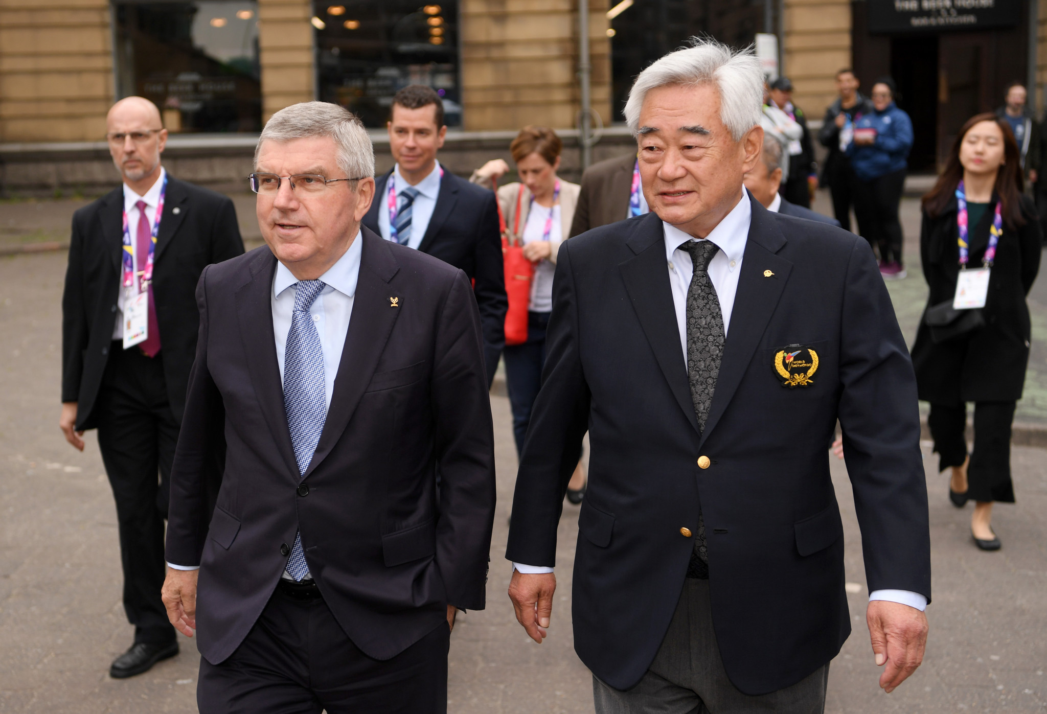 Chungwon Choue, right, seen with International Olympic Committee President Thomas Bach, has led World Taekwondo since 2004 ©Getty Images
