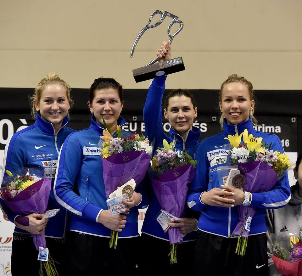Estonia won the team title at the women's épée Fencing World Cup in Barcelona after overcoming Russia in the final ©FIE/Facebook