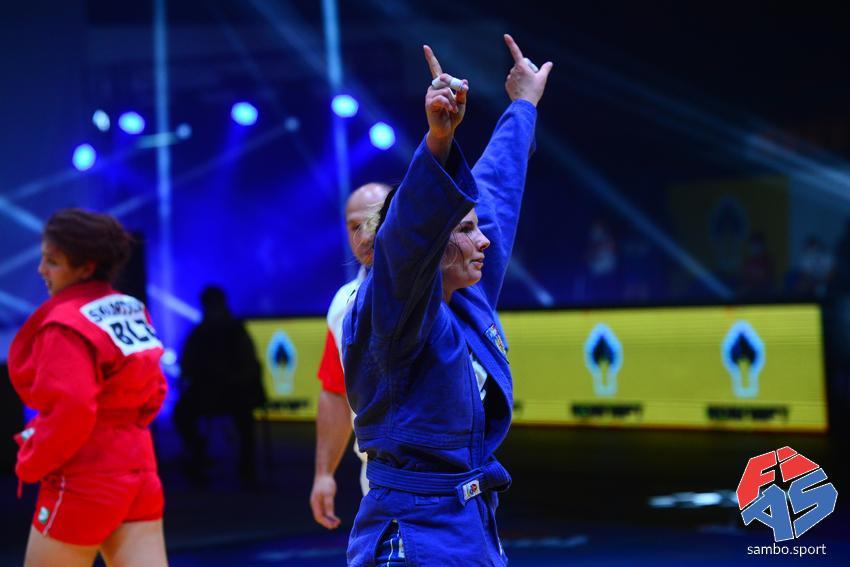 Olga Maleiko defeated Belarus' Nastassia Skvartsova in the women's under-68kg final at last year's World Sambo Championships ©FIAS