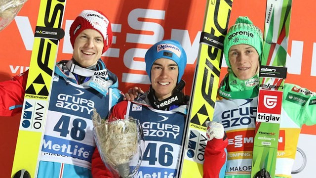Austria's Stefan Kraft claimed his first victory of the season to deny Peter Prevc a fifth straight win ©FIS