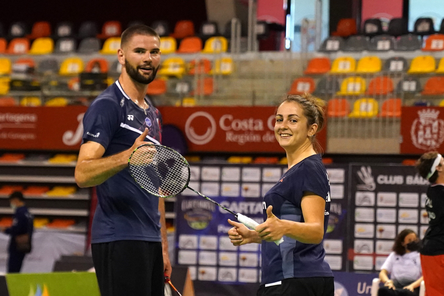 France's Lucas Mazur, left, pictured with Faustine Noel after winning the SL3-SU5 mixed doubles title, won three golds at the Spanish Para Badminton International ©Alan Spink/BWF