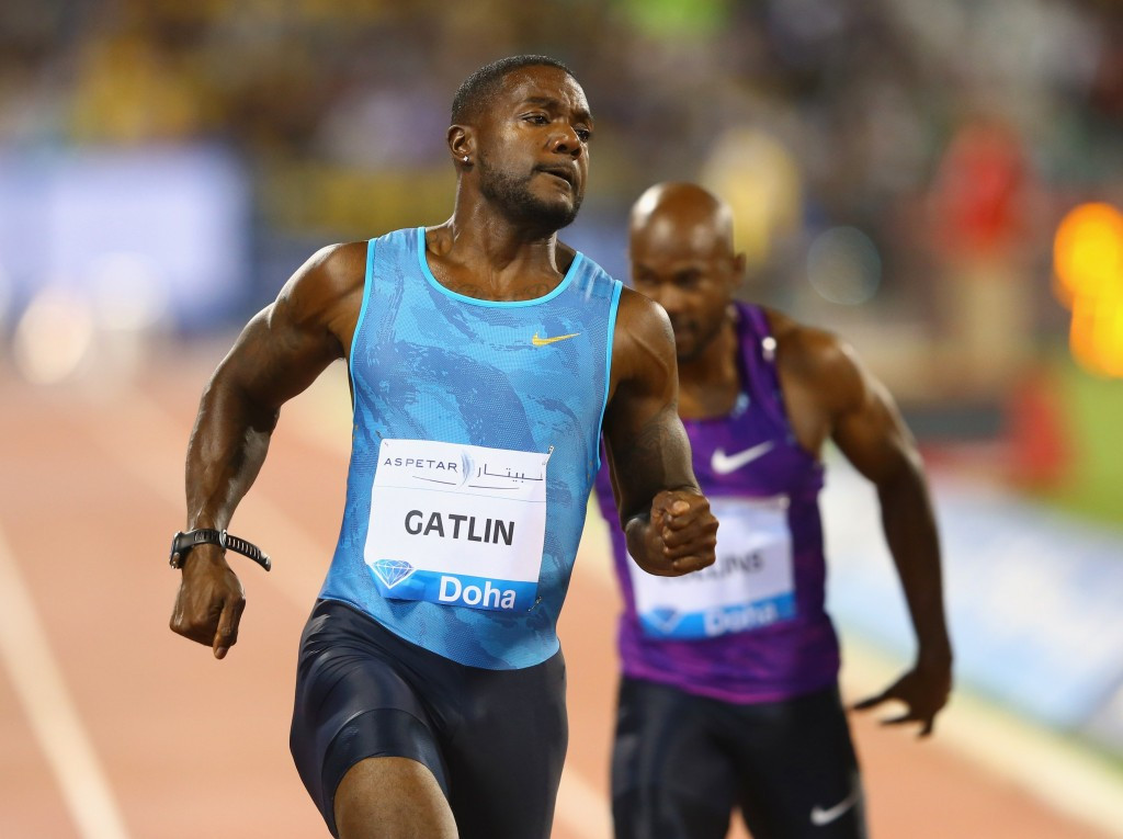 Justin Gatlin recorded a personal best of 9.74 to comfortably win the men's 100m