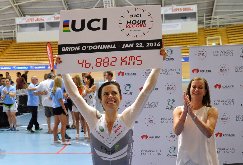 Australia's O'Donnell breaks women's cycling hour record