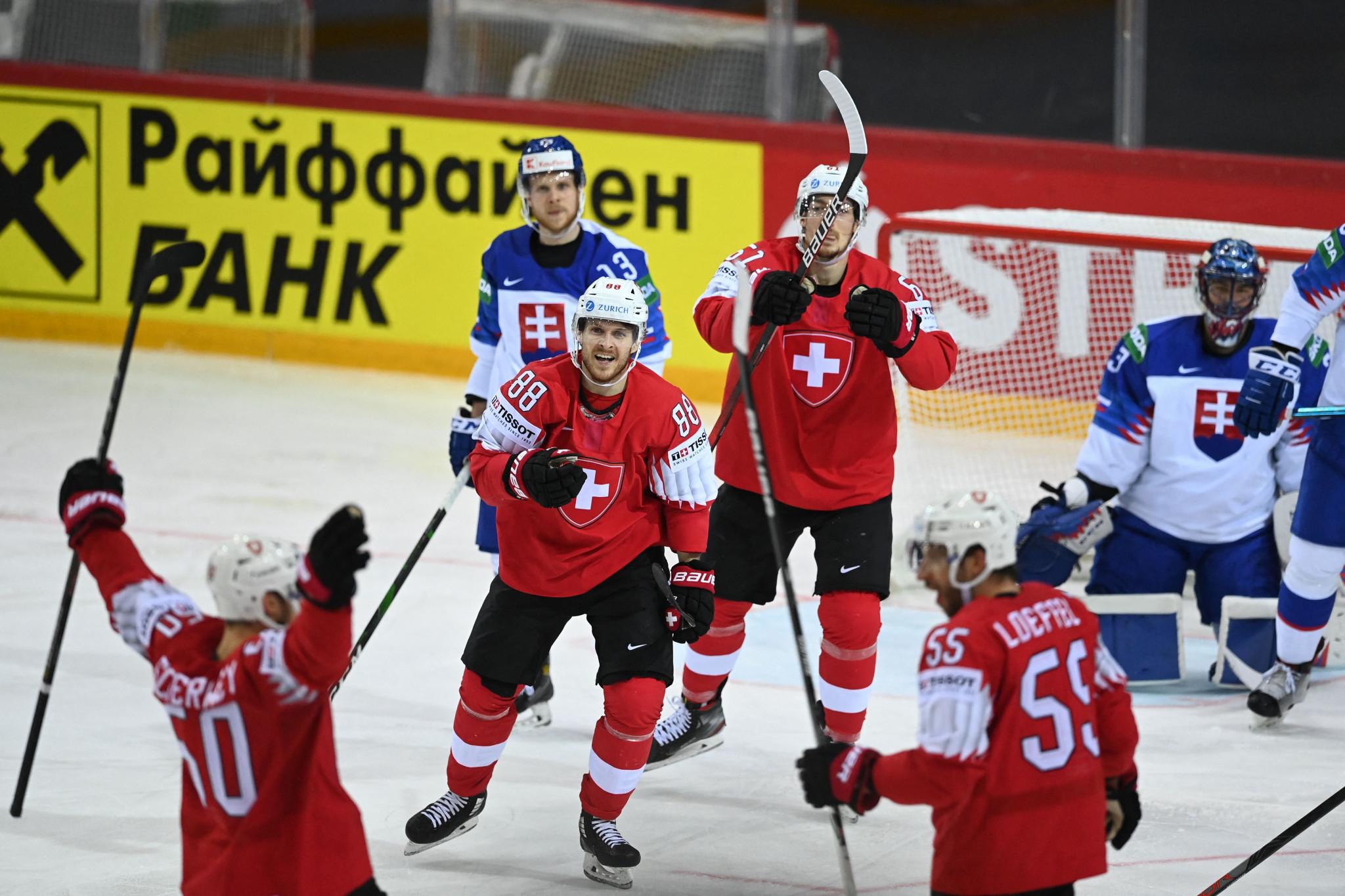 Switzerland net eight in Slovakia rout at IIHF Men's World Championship