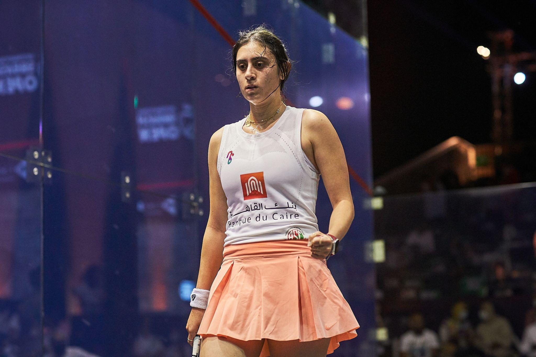 Women's top seed El Sherbini battles to five game win to reach El Gouna International Open final