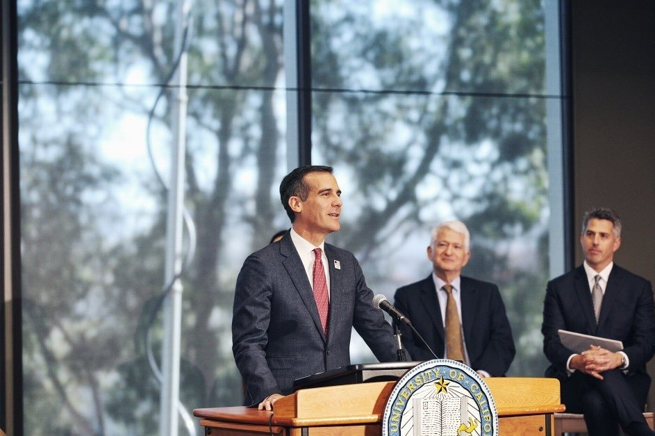 Los Angeles Mayor Eric Garcetti says UCLA was the most cost conscious choice for the Olympic Village