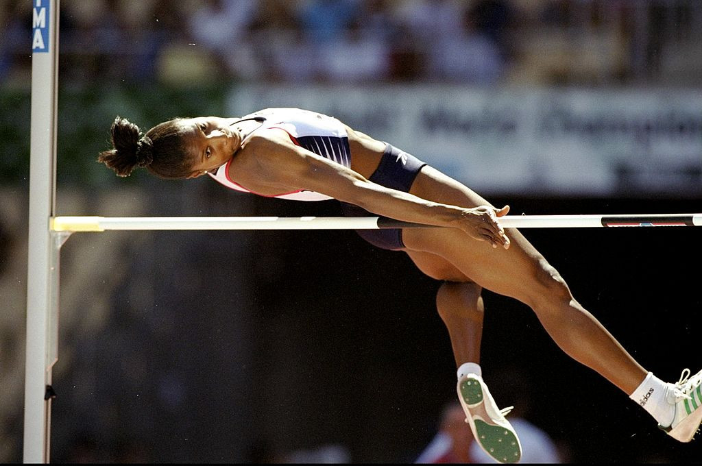 Britain's Denise Lewis en route to world heptathlon silver in 1999 at Seville, having cleared the vital British press hurdle before competition got underway ©Getty Images