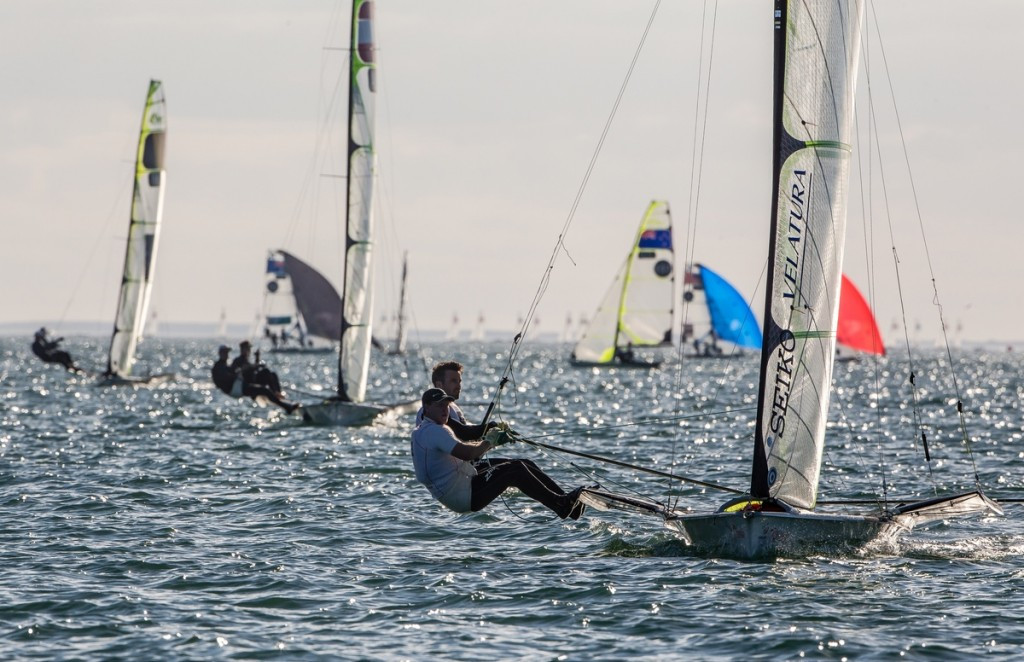 Denmark's Jonas Warrer and Anders Thomsen won the opening race in the yellow 49er fleet, but were black flagged after the second