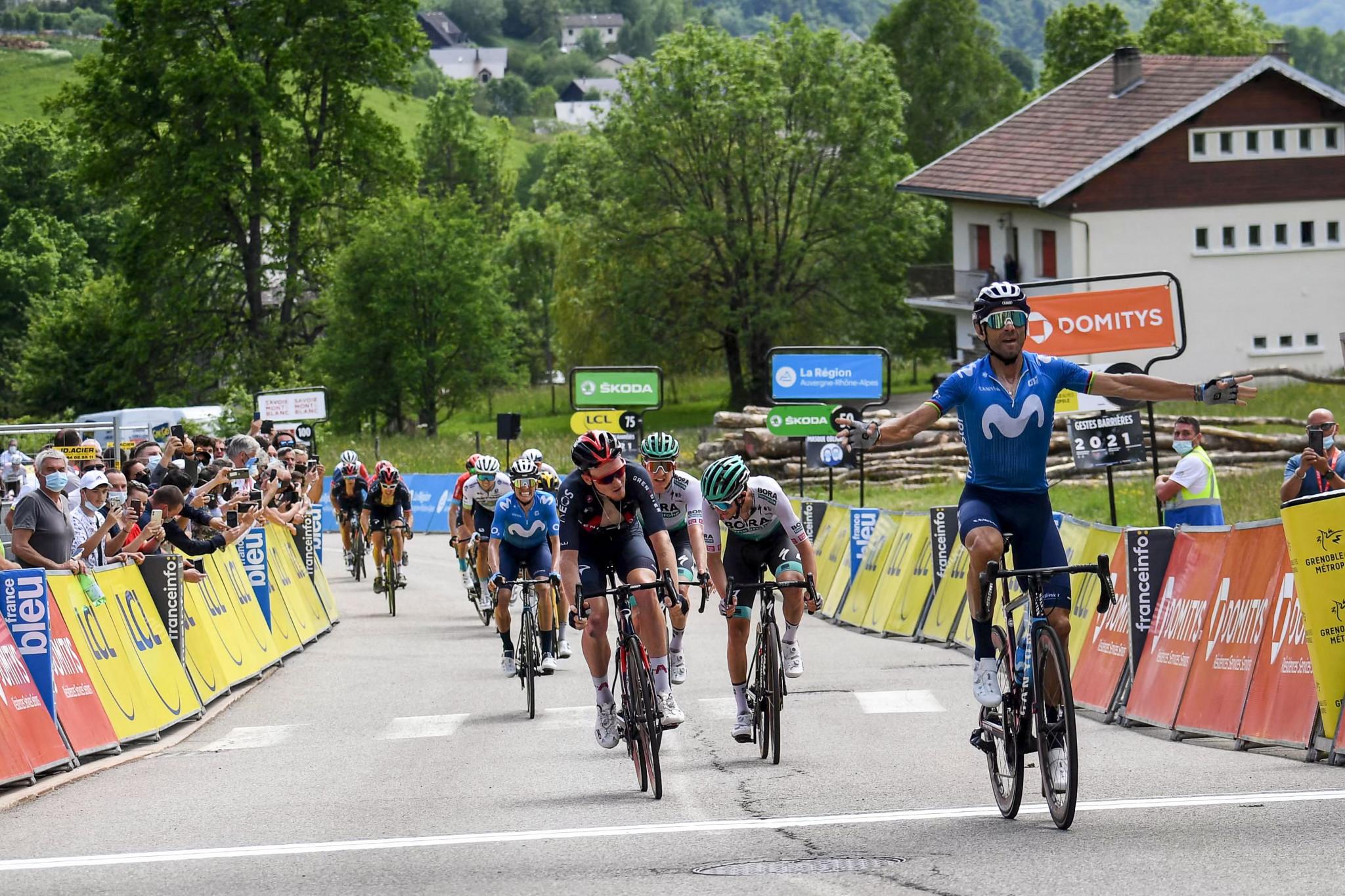 Valverde wins uphill sprint on stage six of Critérium du Dauphiné