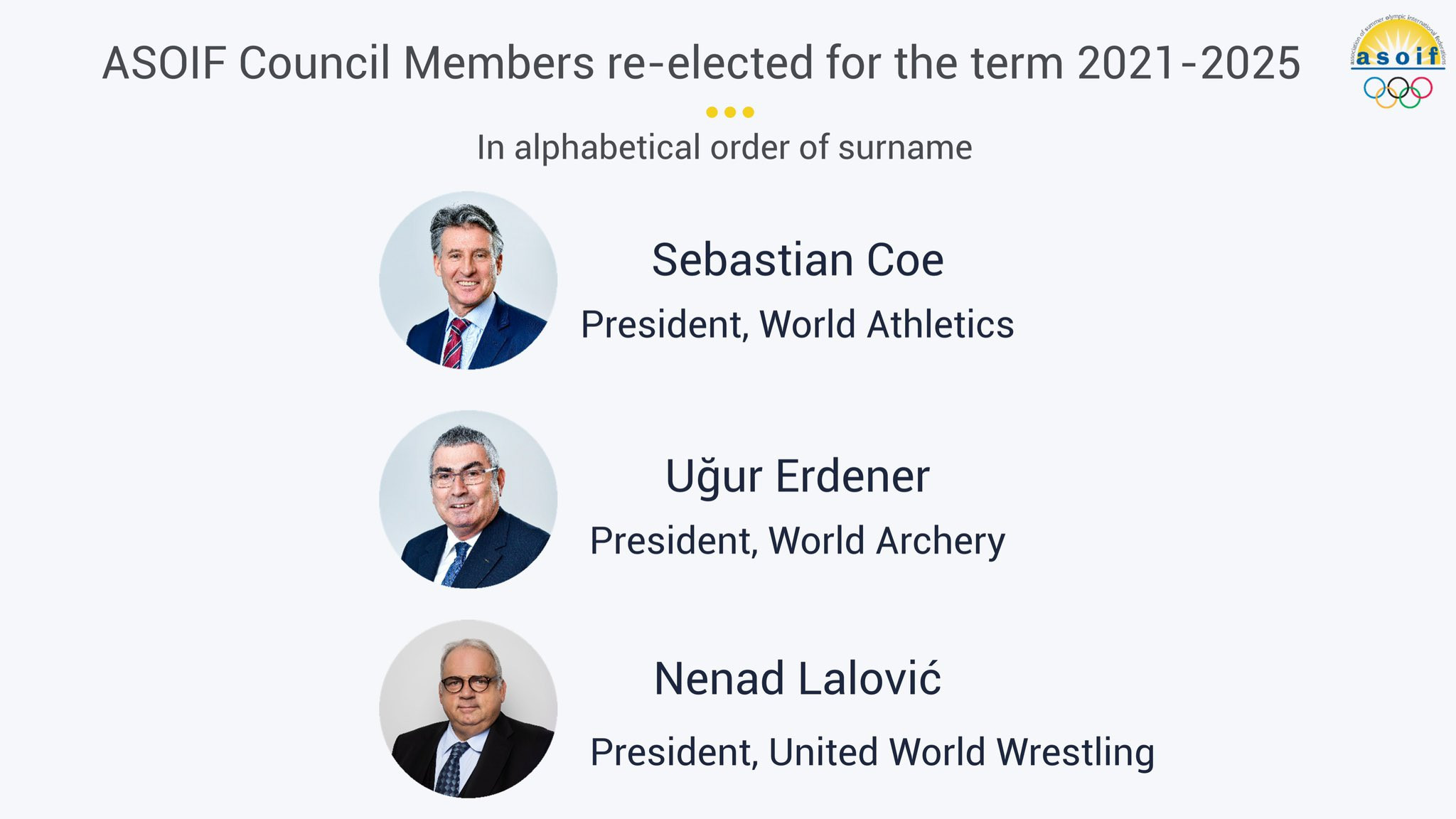 Three members of the ASOIF Council have been re-elected ©ASOIF
