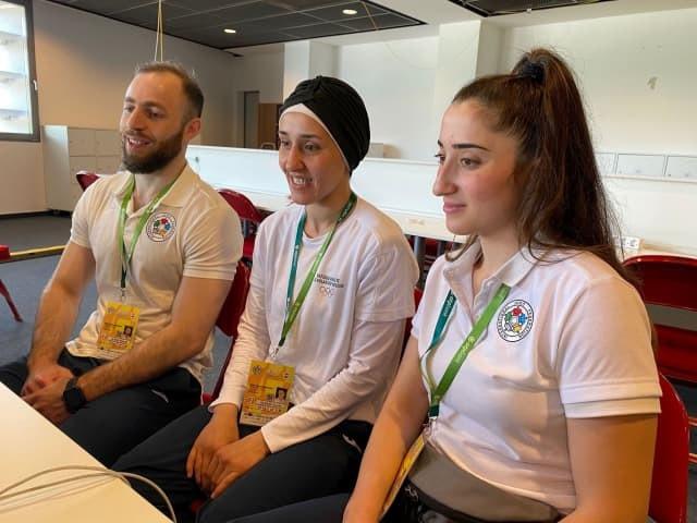 Sanda Aldass, Ahmad Alikaj and Muna Dahouk attended the virtual ceremony where their Tokyo 2020 participation was confirmed ©IJF