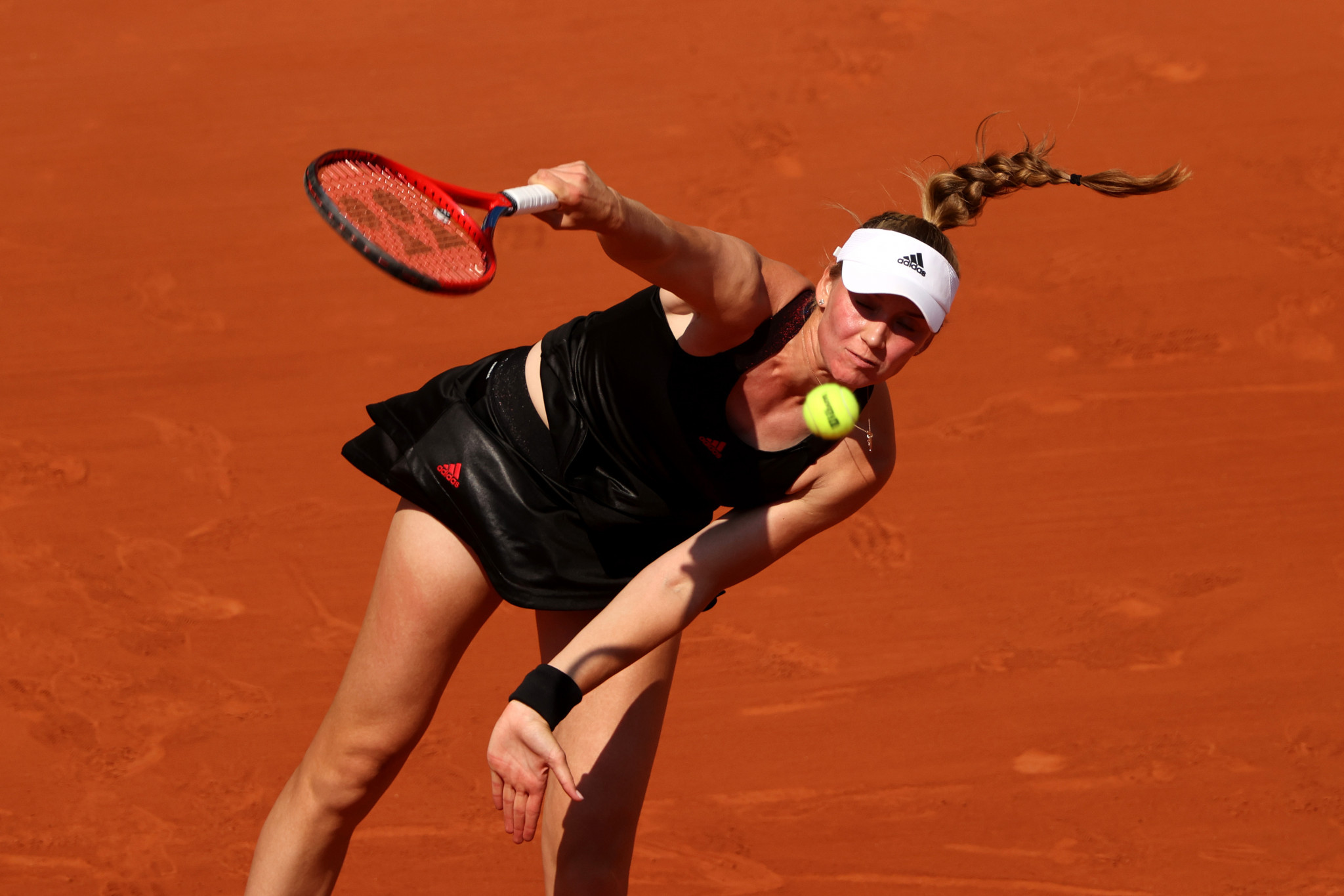 Elena Rybakina serves during her defeat to Pavlyuchenkova, who prevailed in a match lasting just over two and a half hours ©Getty Images