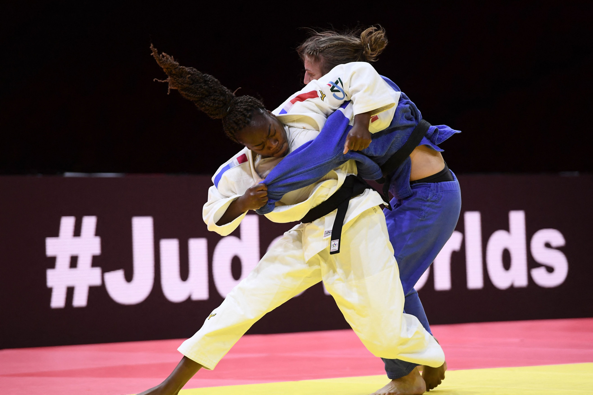 Clarisse Agbegnenou claimed victory over Andreja Leški with an ippon - her fifth of the tournament ©Getty Images