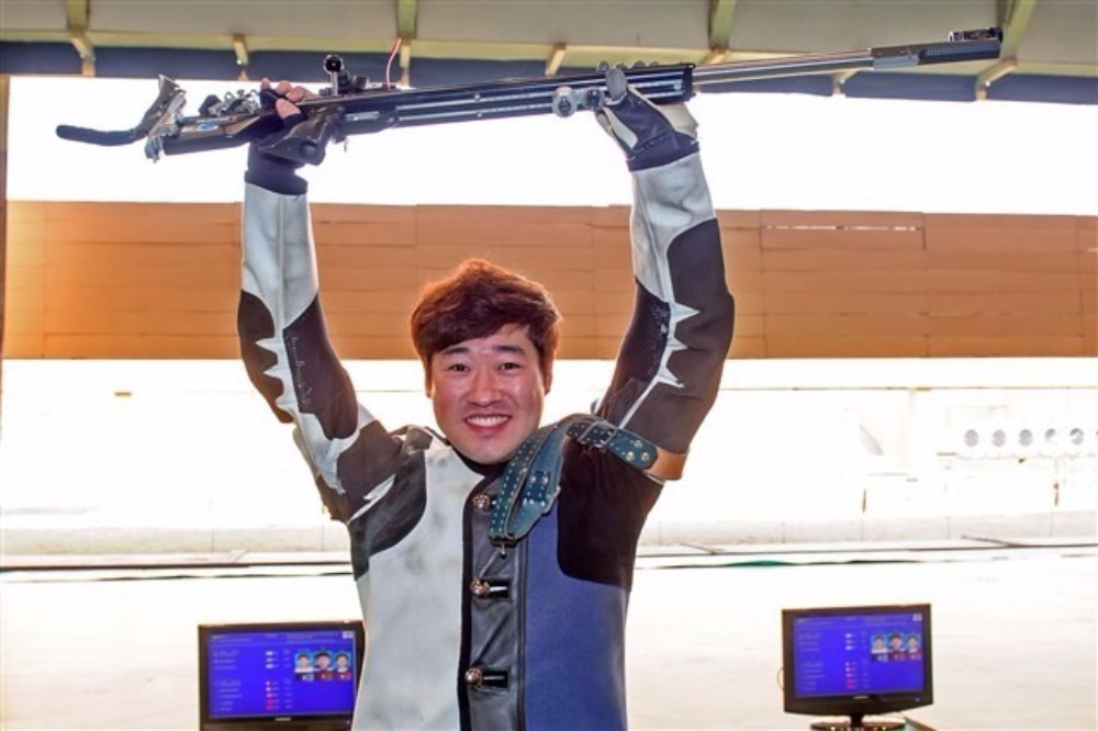 South Korea's Kim Jonghyun earned gold in the men's 50m rifle prone to earn a quota place