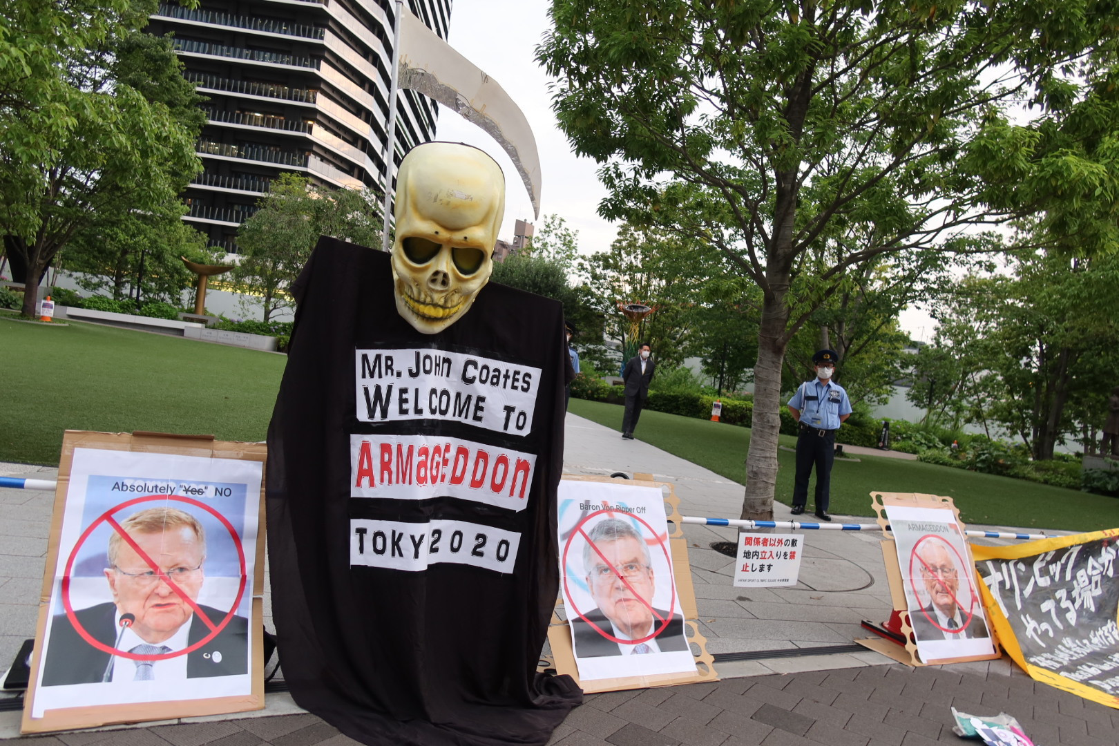 """Protesters shout """"Don't come, Coates"""" on eve of arrival of IOC vice-president in Tokyo"""