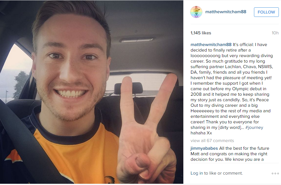 Matthew Mitchum posted about his retirement on Instagram ©Instagram