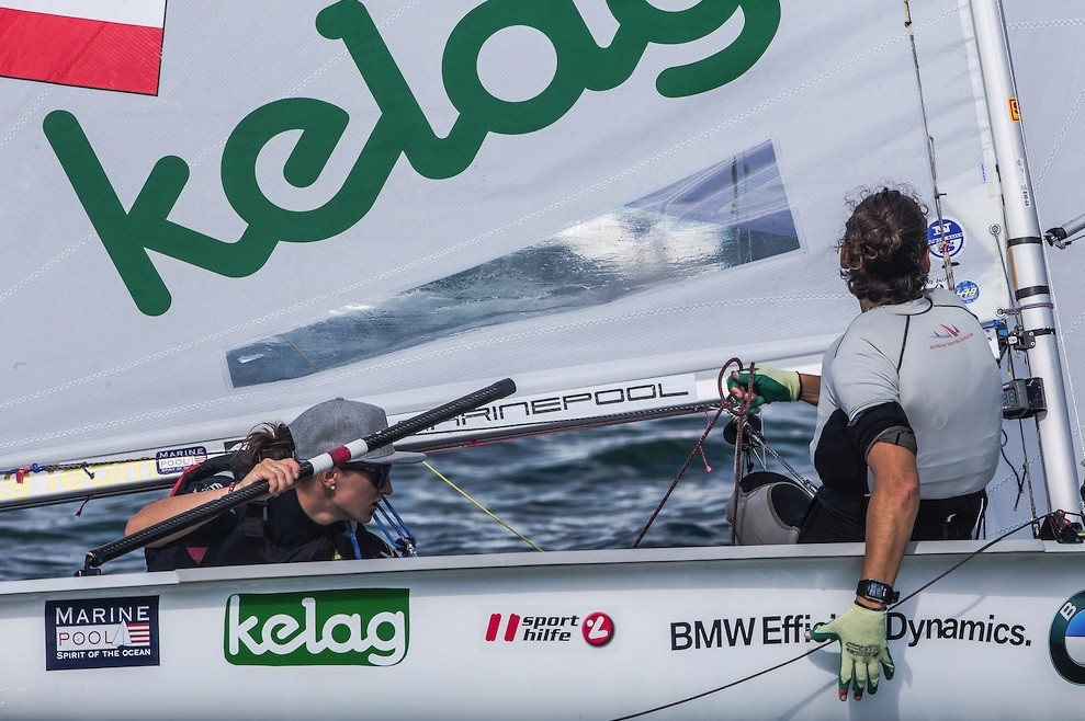 Reigning women's 470 world champions Lara Vadlau and Jolanta Ogar of Austria moved into a joint-lead with Brazilian duo Fernanda Oliveira and Ana Luiza Barbachan ©Jesus Renedo/Sailing Energy/World Sailing