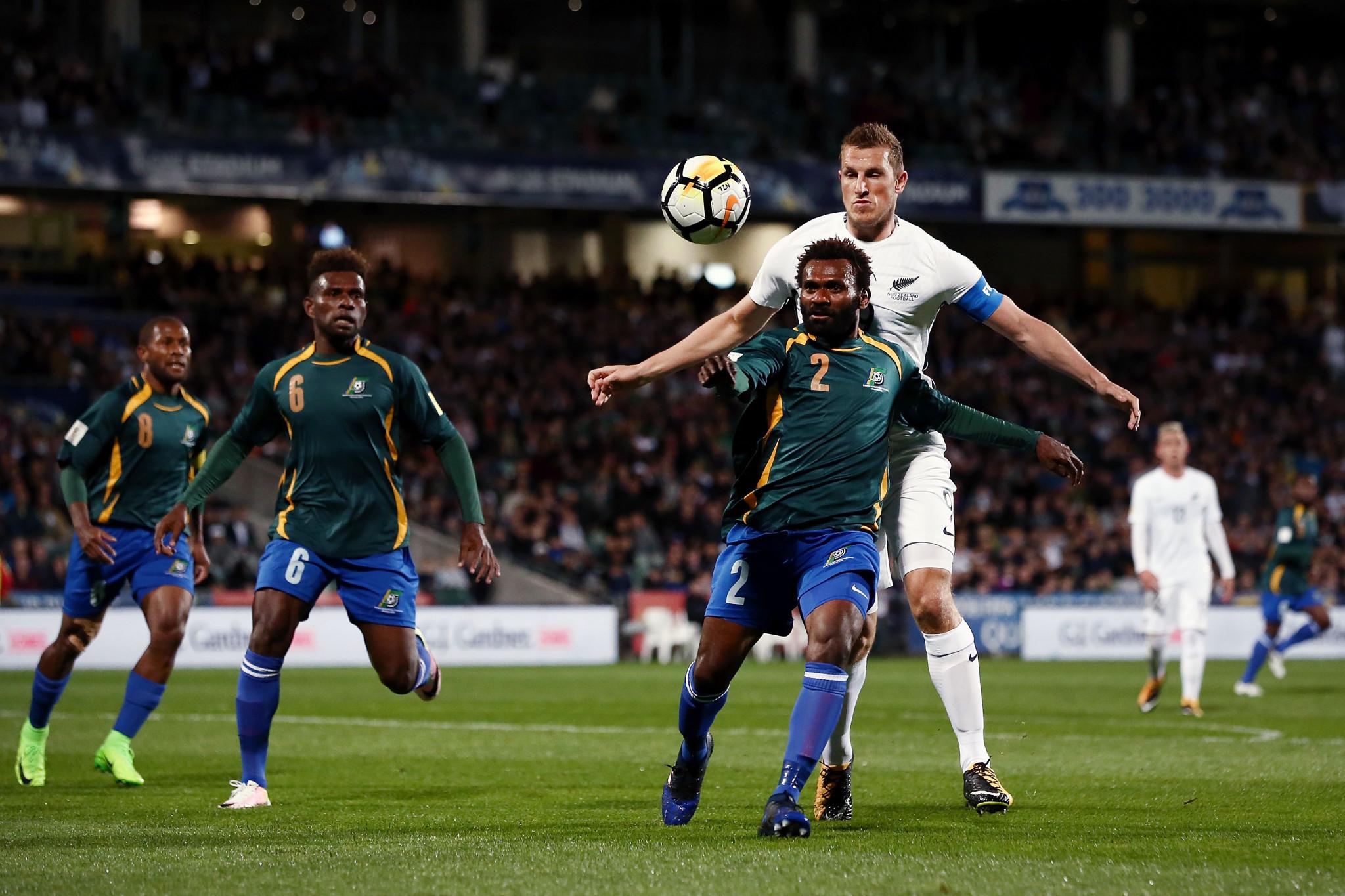 Durante su última etapa a cargo de las Islas Salomón en 2017, Felipe Vega Arango los llevó al playoff de la Copa del Mundo 2018, perdiendo a dos piernas ante Nueva Zelanda © Getty Images
