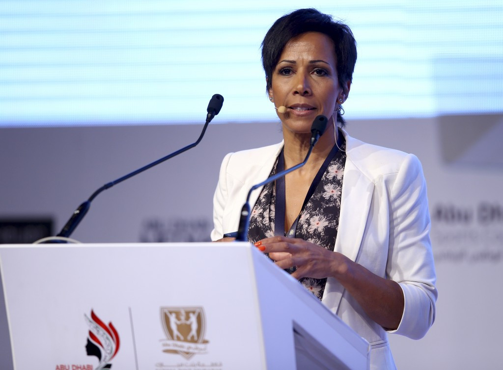 Dame Kelly Holmes, pictured speaking last year, has called for stronger bans against doping cheats ©Getty Images