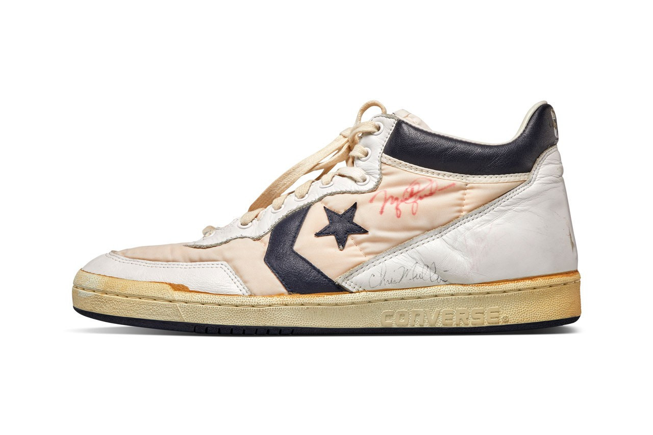 A pair of Converse shoes worn by Michael Jordan during the trials for the United States Olympic basketball team in Los Angeles 1984 is another highlight of the Sotheby's sale © Sotheby's