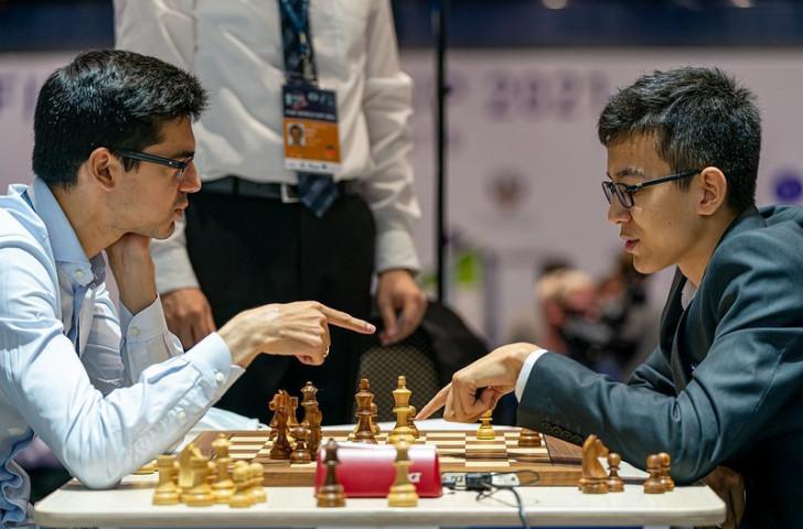Nodirbek Abdusattorov, on the right, is ranked 127th in the world © FIDE / Anastasiia Korolkova