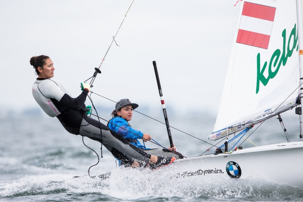 The Austrian team of Lara Vadlau and Jolanta Ogar hold a four-point advantage going into the women's 470 medal race