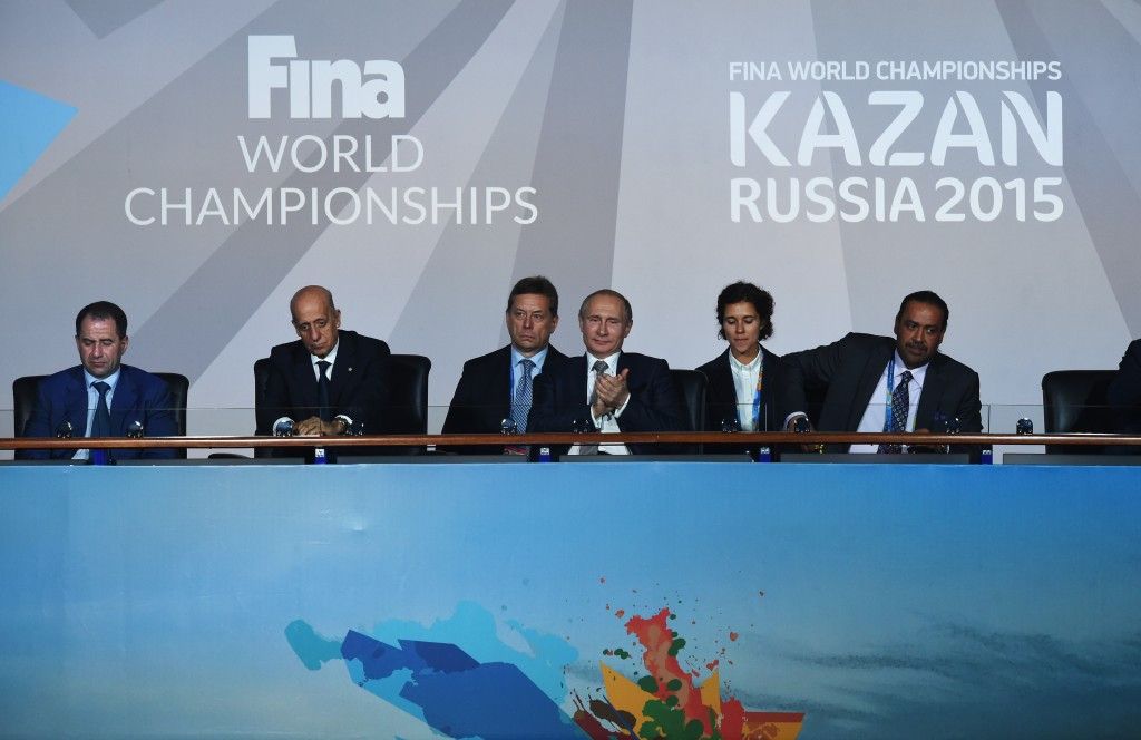 FINA head Julio Maglione (second left), pictured alongside Russian President Vladimir Putin and Association of National Olympic Committees chief Sheikh Ahmad Al-Fahad Al-Sabah (right) at last year's World Championships in Kazan ©Getty Images
