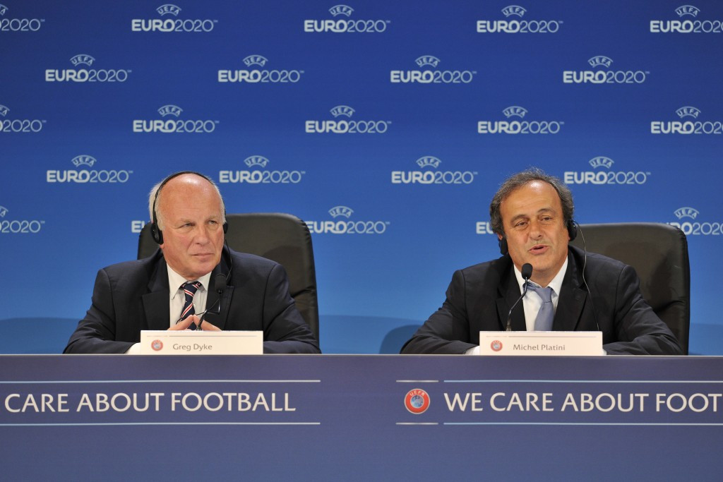 Greg Dyke with UEFA President Michel Platini, who the FA previously backed for FIFA Presidency