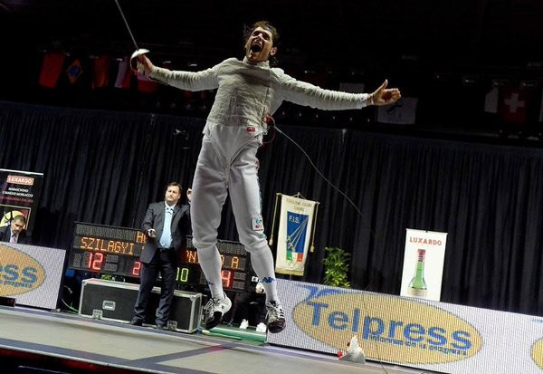A jubilant Aldo Montano, the newly elected President of the Athletes' Commission of the International Fencing Federation © Getty Images