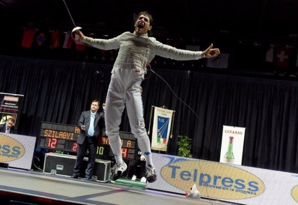 Italy's Aldo Montano won gold in front of a home crowd in Padua
